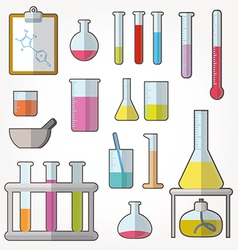 Chemical test tubes icons vector image