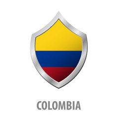 colombia flag on metal shiny shield vector image