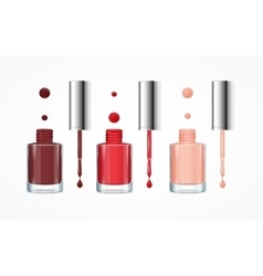 Colorful nail polish open bottle set vector