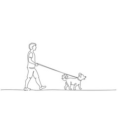 continuous one line drawing young holding dog vector image
