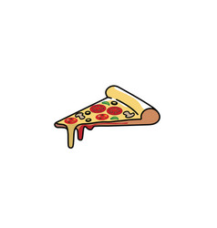 creative delicious pizza slice logo vector image