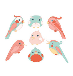 cute birds color set cartoon flat vector image