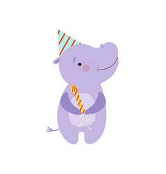 cute hippo with a party popper lovely cartoon vector image