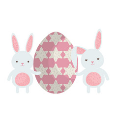 cute rabbits with egg painted vector image