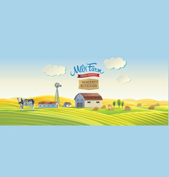 Decorative farm in cartoon style with a cow and vector