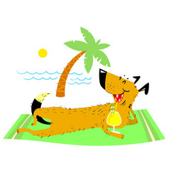 Dog resting on the beach on vector