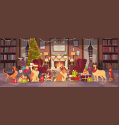 dogs in santa hats in living room with decorated vector image