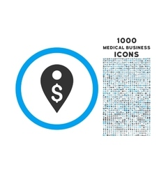 Dollar Map Marker Rounded Symbol With 1000 Icons vector image