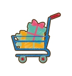 drawing shopping cart online boxes gift vector image