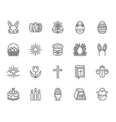 easter flat line icons set colored eggs basket vector image
