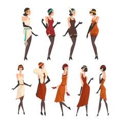 Elegant women in retro dresses black stockings vector