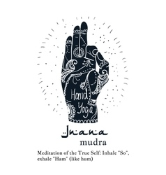Element yoga jnana mudra hands with mehendi vector