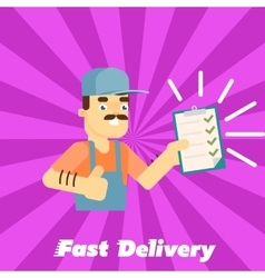 Fast delivery banner Postman with clipboard vector