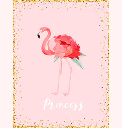 Flamingo with place for baname for poster print vector