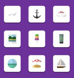 Flat icon beach set of ocean parasol sundae and vector