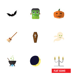 flat icon festival set of superstition monster vector image