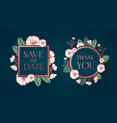 Flower card or cover set wedding anniversary vector