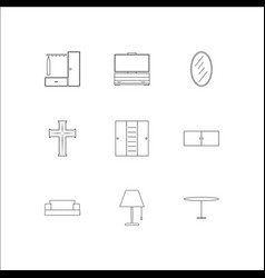 Furniture outline icons set vector