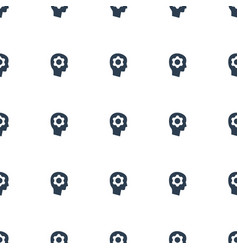 gear in head icon pattern seamless white vector image