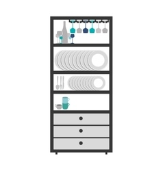 Gray scale small cupboard with items of kitchen vector