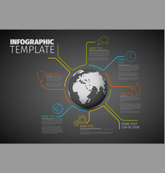 infographic report template with globe vector image