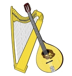 Irish National Musical Instruments Celtic Harp vector image