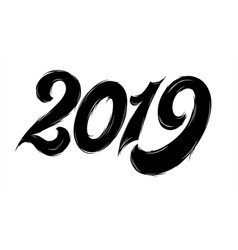 isolated black fluffy numbers for 2019 year vector image