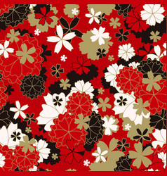 Japanese classic sakura floral in red white vector
