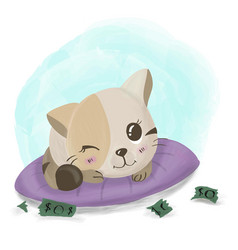 kitten plays with money cute cartoon vector image