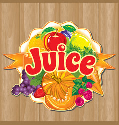 label of juice from the fruits and vegetables vector image