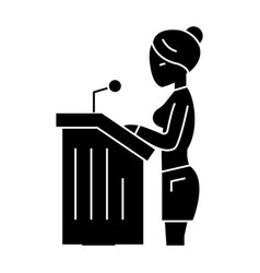 Lawyer woman - speech in court icon vector