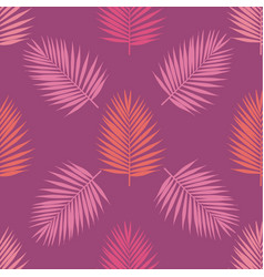 Living coral and purple tropical palm leaves vector
