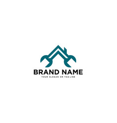 Logo design wrench and house building vector