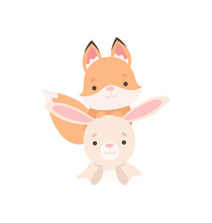 Lovely white little bunny and fox cub cute best vector