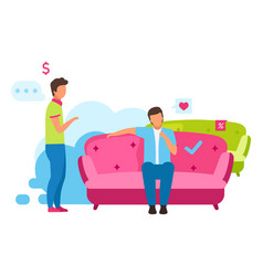 man buying couch flat boy choosing comfortable vector image