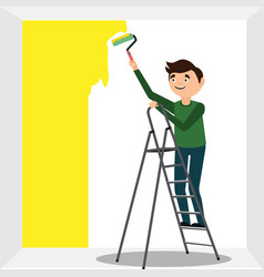 man oloring wall by paint roller vector image