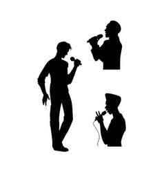 Man singing silhouette set vector