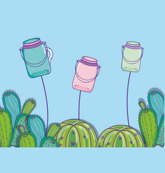 Mason jars with flowers vector