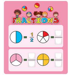 Math fractions worksheet template vector