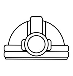 mining helmet icon outline style vector image