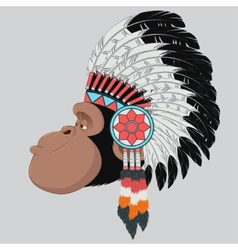 Monkey Indian Chief vector