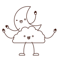 Moon and cloud kawaii caricature in brown color vector