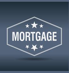 Mortgage hexagonal white vintage retro style label vector