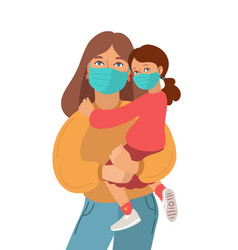 Mother and daughter wear medical masks virus and vector