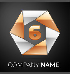 Number six logo symbol in the colorful hexagon on vector