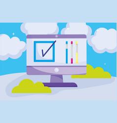online selection mark politics election democracy vector image