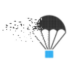 Parachute destructed pixel icon vector