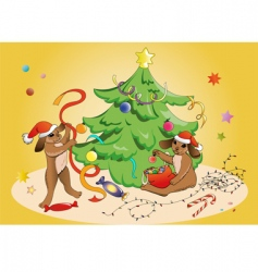rabbits and Christmas vector image