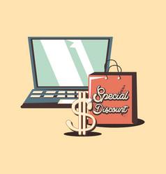 retro shopping laptop special discount dollar vector image