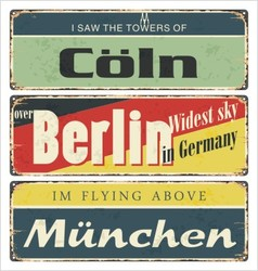 Retro signs Germany city Berlin vector image